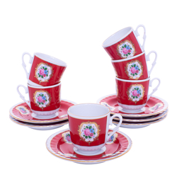 Güral Porselen - 12 Parça Karton Kutulu <br> Altılı Kahve FincanıTakımı ORNK803