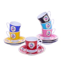 Güral Porselen - 12 Parça Karton Kutulu <br> Altılı Kahve FincanıTakımı ORNK804