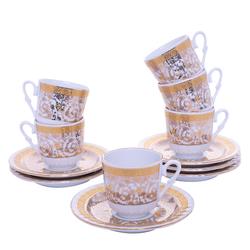 Güral Porselen - 12 Parça Karton Kutulu <br> Altılı Kahve FincanıTakımı ORNK808