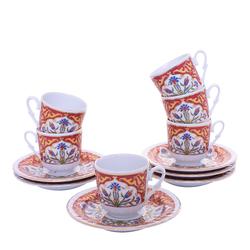 Güral Porselen - 12 Parça Karton Kutulu <br> Altılı Kahve Fincanı Takımı <br> ORNK813