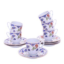 Güral Porselen - 12 Parça Karton Kutulu <br> Altılı Kahve Fincanı Takımı <br> ORNK814