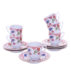 Güral Porselen - 12 Parça Karton Kutulu <br> Altılı Kahve Fincanı Takımı <br> ORNK815