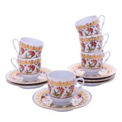 Güral Porselen - 12 Parça Karton Kutulu <br> Altılı Kahve FincanıTakımı ORNK818