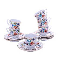 Güral Porselen - 12 Parça Karton Kutulu <br> Aktılı Kahve Fincanı Takımı <br> ORNK820