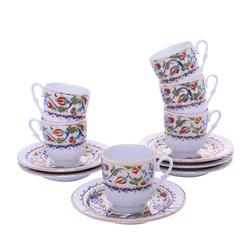 Güral Porselen - 12 Parça Karton Kutulu <br> Altılı Kahve Fincanı Takımı <br> ORNK826
