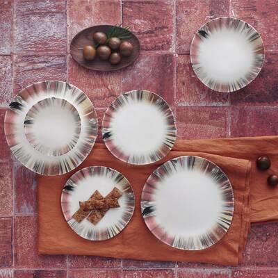 Yemek Seti Güral Porselen <br> 24 Parça 6 Kişilik Digibone Rodin <br> Asimetrik Yemek Takımı <br> GBSRD24Y4100725