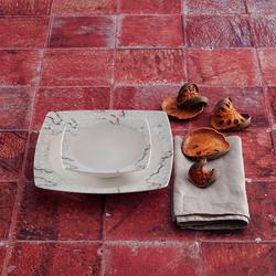 Güral Porselen - 24 Parça Reaktif Kare Bone Yemek Seti <br>GBSCR24Y4101304