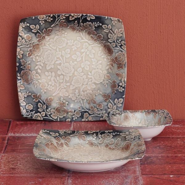 Güral Porselen - 24 Parça reaktif Kare Yemek Takımı <br> GBSCR24Y4101376