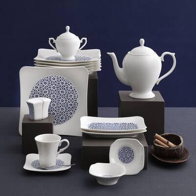 Güral Porselen Kahvaltı Takımı <br> 36 Parça 6 Kişilik Spinoza Kare<br> GBSSPN36KH101862