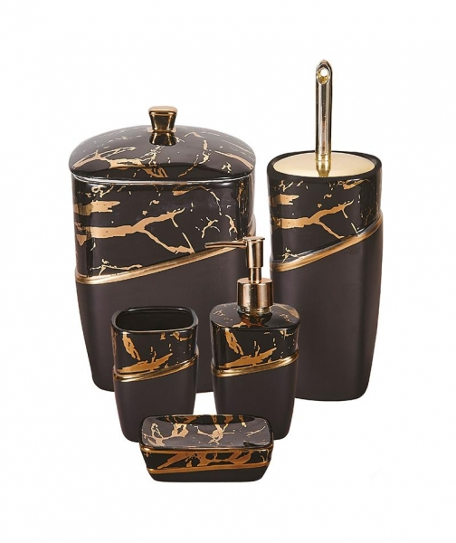 Acar Home - 5'Li Stoneware Mermer Desen Siyah Banyo Seti