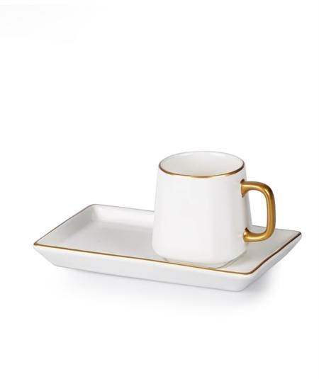 Acar Home - 6'Lı Porselen Kahve Fincan Takımı Beyaz <br> CLK-010718