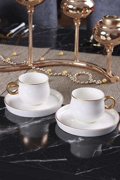 Acar Home - 6'Lı Porselen Kahve Fincan Takımı Beyaz <br> KRM-009344