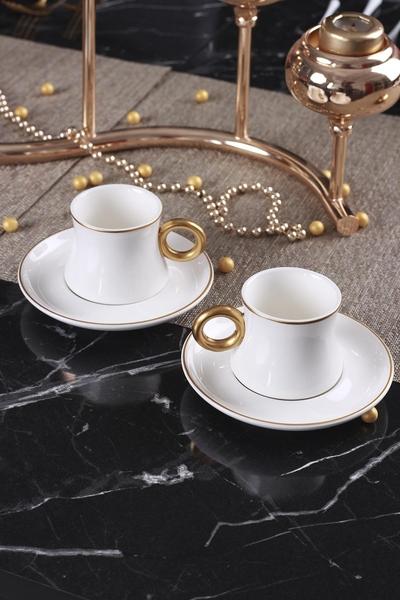Acar Home - 6'Lı Porselen Kahve Fincan Takımı Beyaz <br> KRM-009345