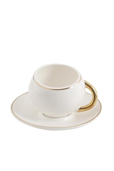 Acar Home - 6'Lı Porselen Kahve Fincan Takımı Beyaz <br> clk-010085