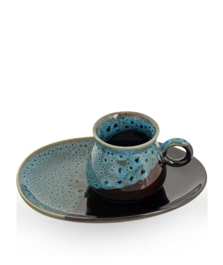 Acar Home - 6'Lı Porselen Kahve Fincan Takımı Mavi <br> SYT-010928
