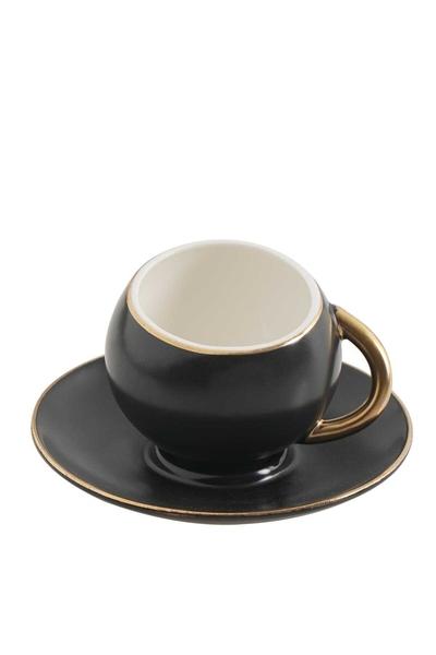 Acar Home - 6'Lı Porselen Kahve Fincan Takımı Siyah <br> clk-010085