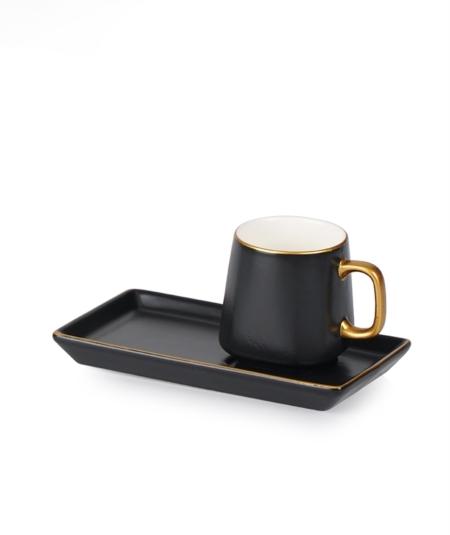 Acar Home - 6'Lı Porselen Kahve Fincan Takımı Siyah <br> CLK-010718