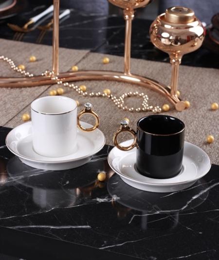 Acar Home - 6'Lı Porselen Kahve Fincan Takımı Siyah <br> CLK-011081
