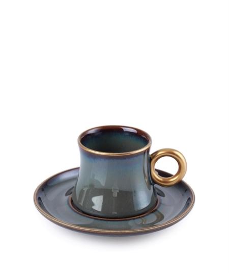 Acar Home - 6'Lı Porselen Kahve Fincan Takımı Siyah <br> KRM-010530