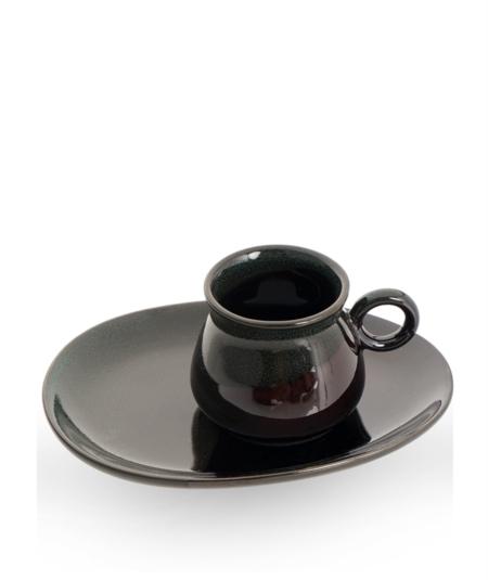 Acar Home - 6'Lı Porselen Kahve Fincan Takımı Siyah <br> SYT-010928