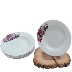 Güral Porselen - 6'lı Porselen Yemek Tabağı Küçük Boy 19 cm<br> ORN6YMK05