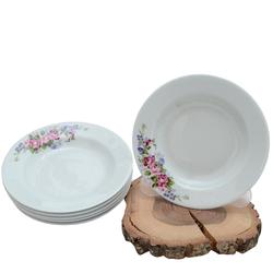 Güral Porselen - 6'lı Porselen Yemek Tabağı Küçük Boy 19 cm <br> ORN6YMK03