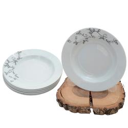 Güral Porselen - 6'lı Porselen Yemek Tabağı Küçük Boy 19 cm<br> ORN6YMK01