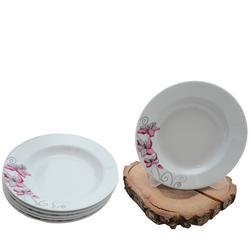 Güral Porselen - 6'lı Yemek Tabağı Küçük Boy 19 cm <br>ORN6YMK08