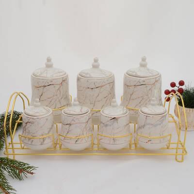 7 li Porselen Baharat Seti ORNBT03