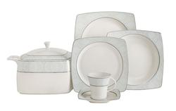 Güral Porselen - Yemek Takımı Güral Porselen <br> 85 Parça 12 Kişilik <br> Caroline Kare Bone <br> GBSCR85KYT8305410