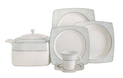 Yemek Takımı Güral Porselen <br> 85 Parça 12 Kişilik <br> Caroline Kare Bone <br> GBSCR85KYT8305410