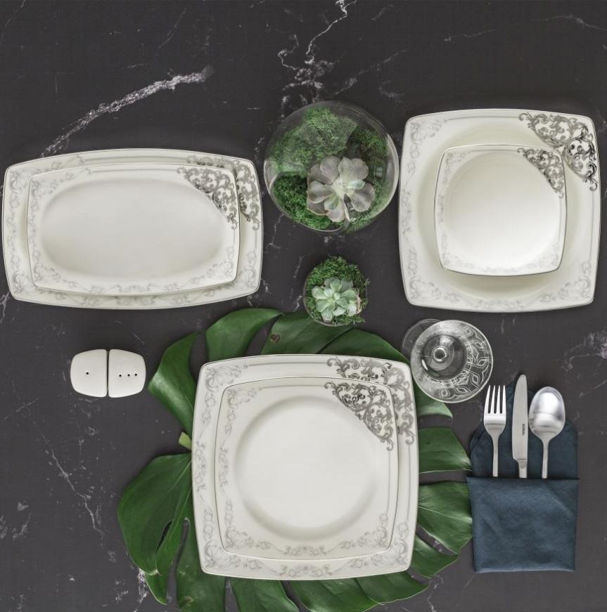 Yemek Takımı Güral Porselen <br> 85 Parça 12 Kişilik <br> Caroline Kare Bone<br> GBSCR85KYT8305438