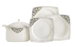 Güral Porselen - Yemek Takımı Güral Porselen <br> 85 Parça 12 Kişilik <br> Caroline Kare Bone<br> GBSCR85KYT8305438