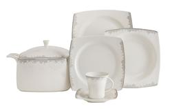 Güral Porselen - Yemek Takımı Güral Porselen <br> 85 Parça 12 Kişilik <br> Caroline Kare Bone <br> GBSCR85KYT8305489