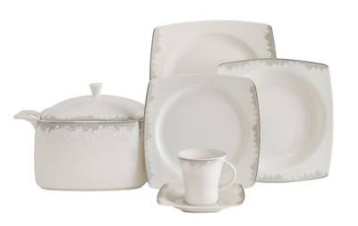 Yemek Takımı Güral Porselen <br> 85 Parça 12 Kişilik <br> Caroline Kare Bone <br> GBSCR85KYT8305489