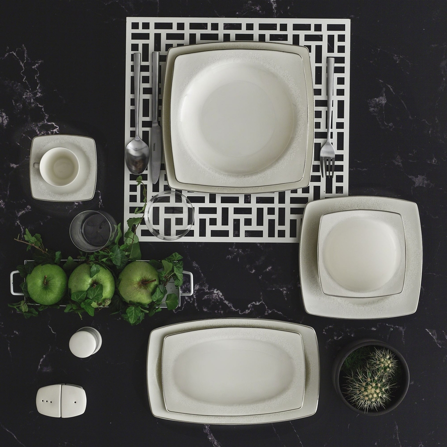 Yemek Takımı Güral Porselen <br> 85 Parça 12 Kişilik <br> Caroline Kare Bone <br> GBSCR85KYT8305498