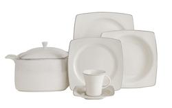 Güral Porselen - Yemek Takımı Güral Porselen <br> 85 Parça 12 Kişilik <br> Caroline Kare Bone <br> GBSCR85KYT8305498