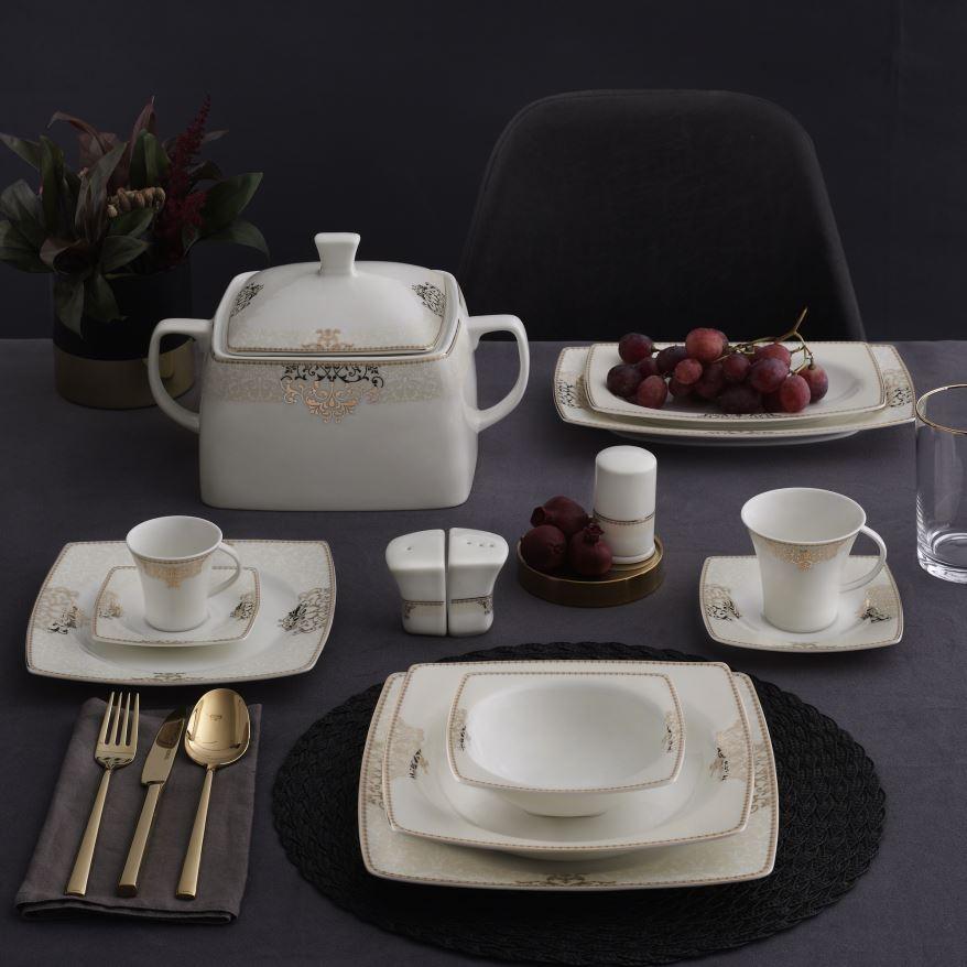 Yemek Takımı Güral Porselen <br> 85 Parça 12 Kişilik <br> Caroline Kare Bone <br> GBSCR85KYT8405686