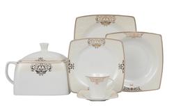 Güral Porselen - Yemek Takımı Güral Porselen <br> 85 Parça 12 Kişilik <br> Caroline Kare Bone <br> GBSCR85KYT8405686