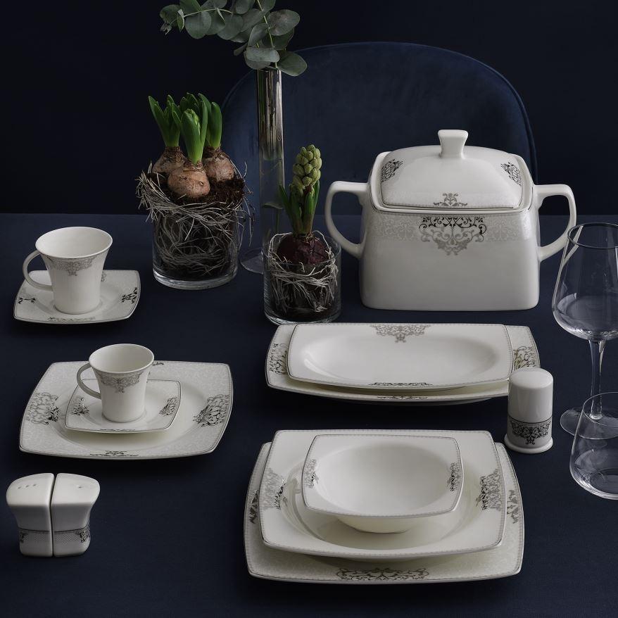 Yemek Takımı Güral Porselen <br> 85 Parça 12 Kişilik <br> Caroline Kare Bone <br> GBSCR85KYT84056861