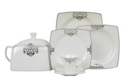 Güral Porselen - Yemek Takımı Güral Porselen <br> 85 Parça 12 Kişilik <br> Caroline Kare Bone <br> GBSCR85KYT84056861