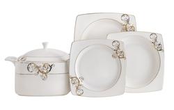 Güral Porselen - Yemek Takımı Güral Porselen <br> 85 Parça 12 Kişilik <br> Caroline Kare Bone <br> GBSCR85KYT8305430
