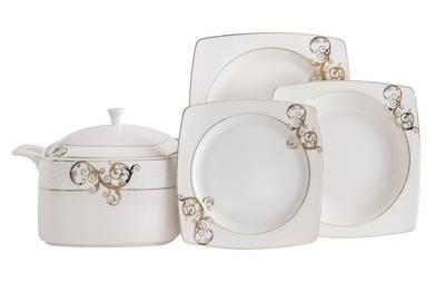 Yemek Takımı Güral Porselen <br> 85 Parça 12 Kişilik <br> Caroline Kare Bone <br> GBSCR85KYT8305430