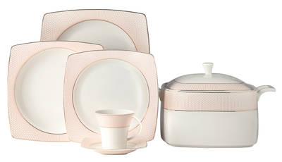 Yemek Takımı Güral Porselen <br> 85 Parça 12 Kişilik <br> Caroline Kare Bone<br> GBSCR85KYT8305431