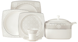 Güral Porselen - Yemek Takımı Güral Porselen <br> 85 Parça 12 Kişilik <br> Caroline Kare Bone<br> GBSCR85KYT8305432