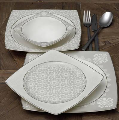 Yemek Takımı Güral Porselen <br> 85 Parça 12 Kişilik <br> Caroline Kare Bone<br> GBSCR85KYT8305432