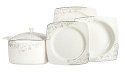 Güral Porselen - Yemek Takımı Güral Porselen <br> 85 Parça 12 Kişilik <br> Caroline Kare Bone <br> GBSCR85KYT8305507