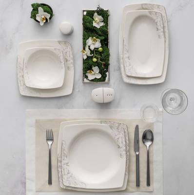 Yemek Takımı Güral Porselen <br> 85 Parça 12 Kişilik <br> Caroline Kare Bone <br> GBSCR85KYT8305507