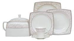 Güral Porselen - Yemek Takımı Güral Porselen <br> 85 Parça 12 Kişilik <br> Caroline Kare Bone<br> GBSCR85KYT8305676