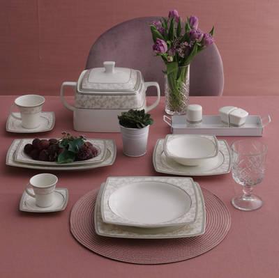 Yemek Takımı Güral Porselen <br> 85 Parça 12 Kişilik <br> Caroline Kare Bone<br> GBSCR85KYT8305676